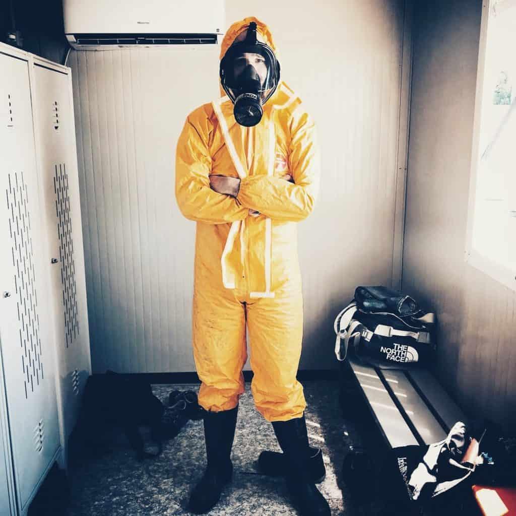 A man with a hazmat suit
