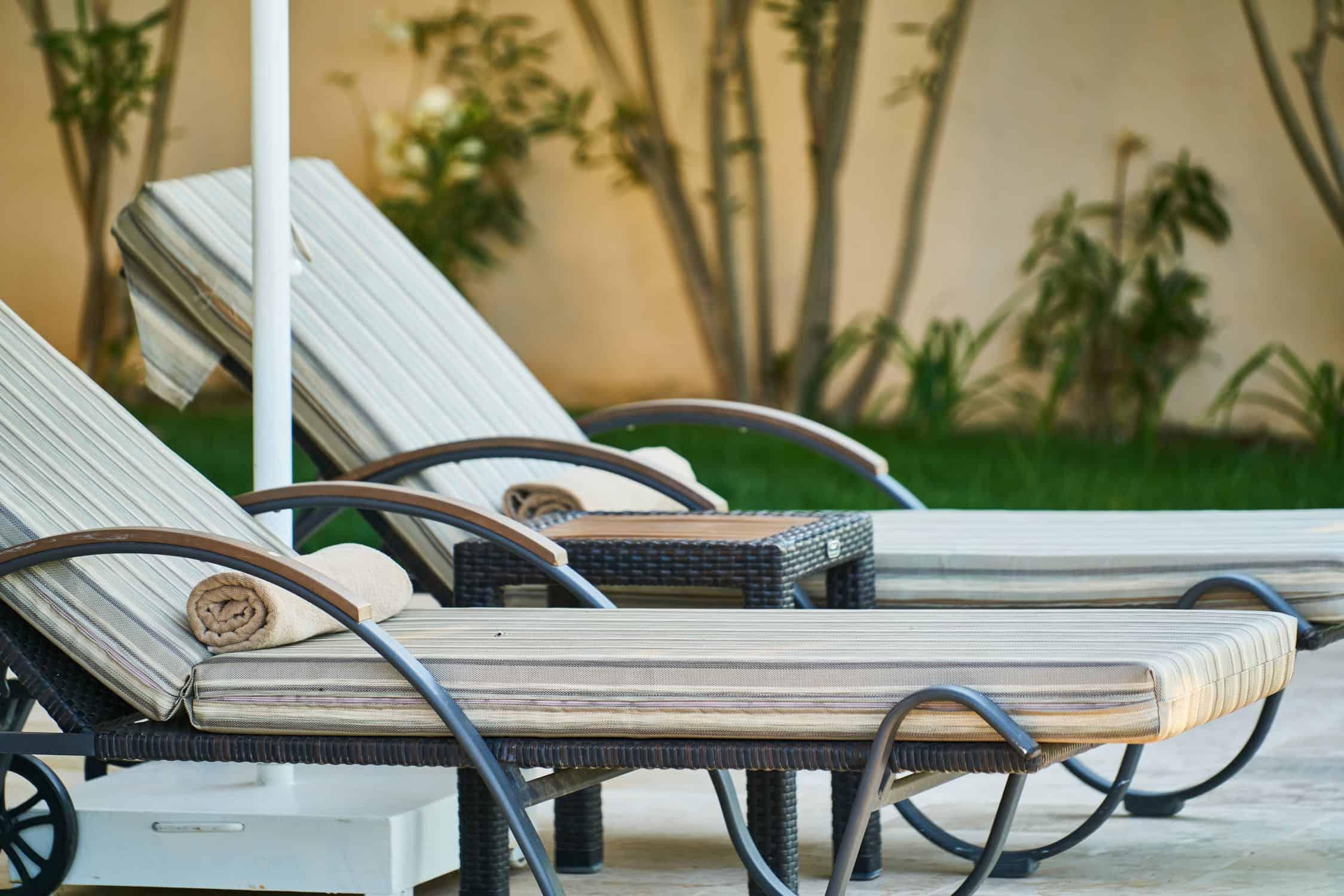 a beach lawn chair ready for sitting