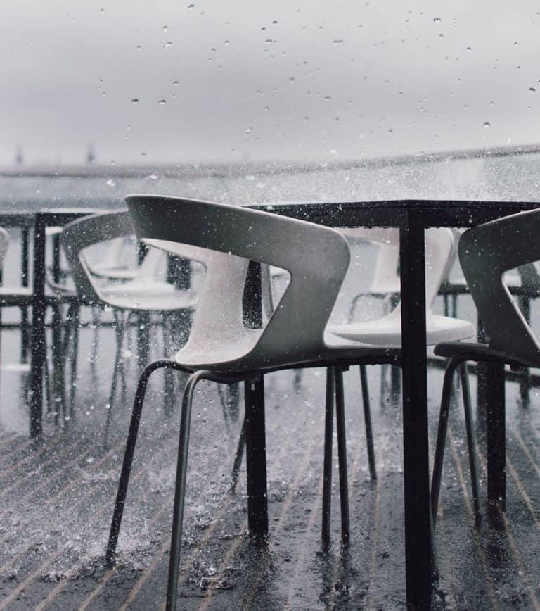 patio furniture in rainy weather
