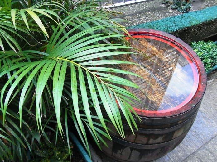 rain barrel in need of repair